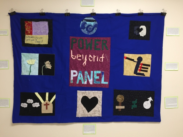 "Power Beyond the Panel quilt created by the ""Sewing the Seeds of Social Justice"" AIA class; Left to right, top to bottom: Martina Baba, Louise Sideras, Lucy Liu, Zoe Swaim, Mrs. Ng and Ms. Ohmoto-Whitfield, Amy Palmer, Brooke Krivickas, Hannah Macdonald, and Jasmine Deleon."